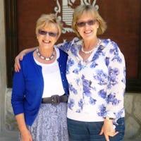 Anne & Liz outside restaurant