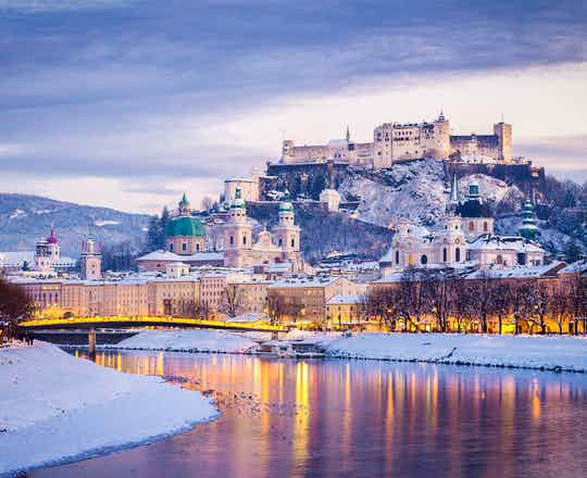 Hohensalzburg and Salzach River in Winter, Austria