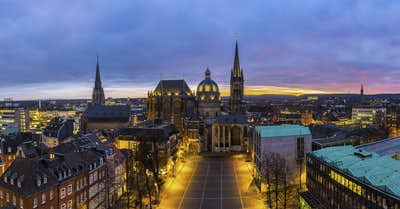 Aachen cathedral at sunset