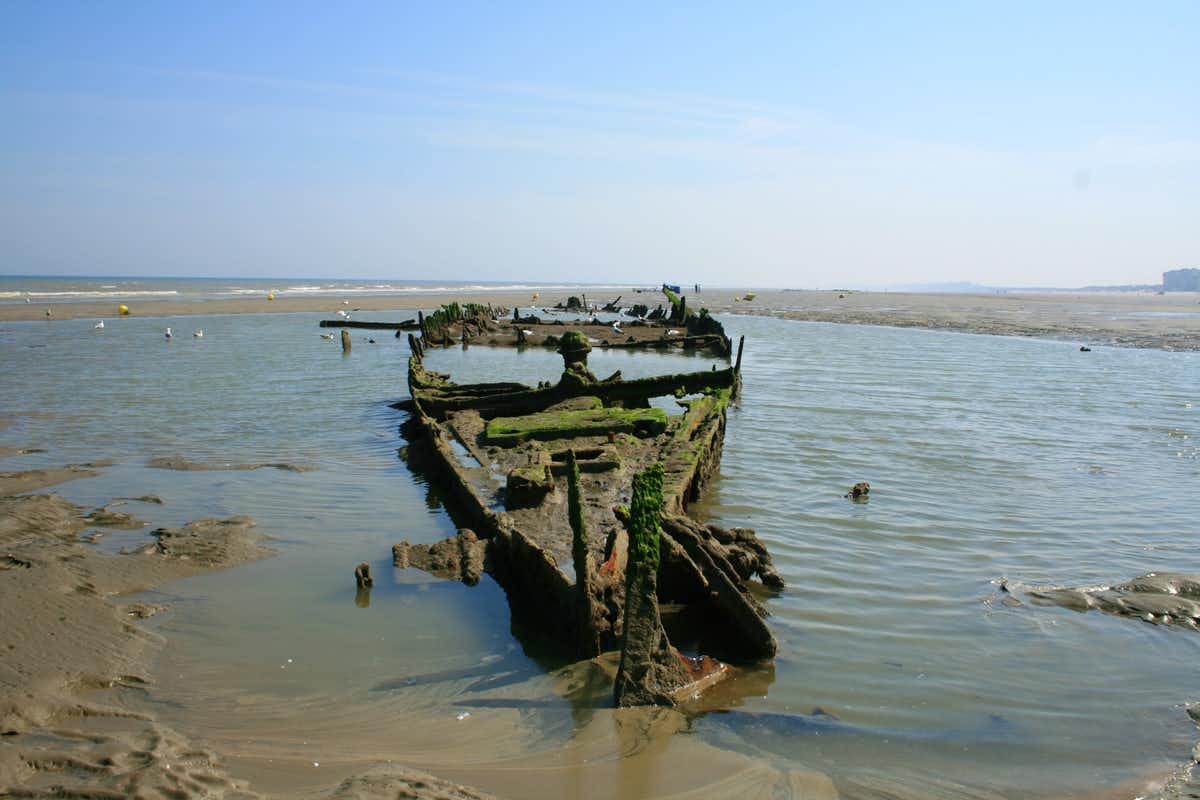 Shipwreck on Dunkirk Beaches, France